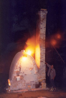 Wood Fire Kiln 16, being fired before it had a building over it.