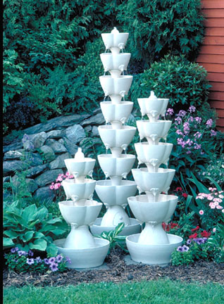 Natural Clay Scalloped Petal Fountains