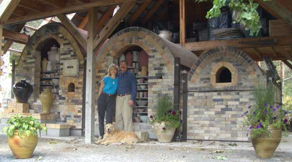 Christine, Robert & Shino in front of the wood chamber.