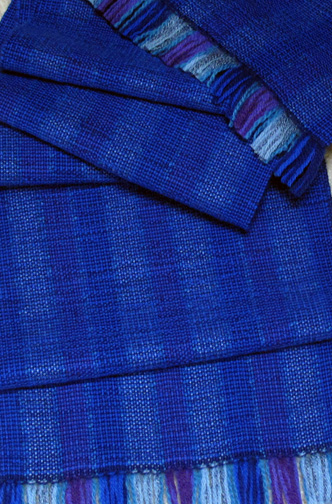 Blue Handwoven Wool-Silk Scarf