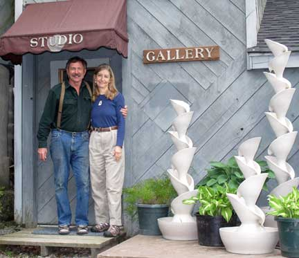 Robert & Christine welcome visitors to the pottery.