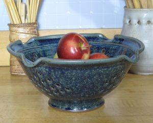 Blue glazed Colander